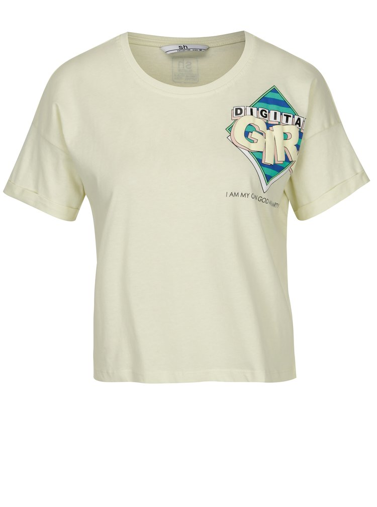 Světle žluté zkrácené tričko s potiskem SH Colniza