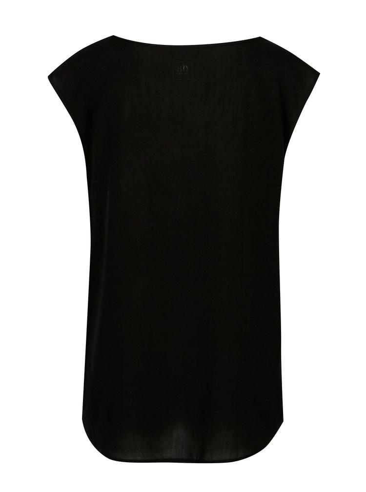 Černé tričko s kratkým rukávem a potiskem SH Barrina