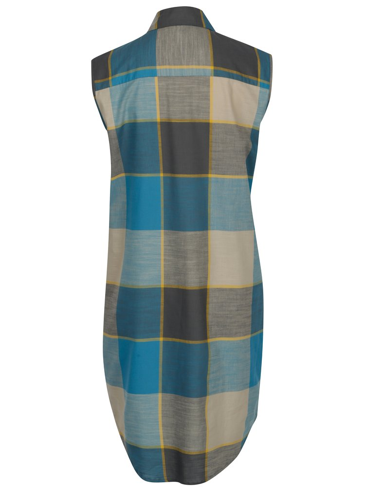 Tyrkysové kostkované košilové šaty SEVERANKA