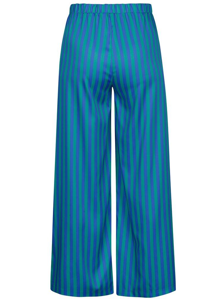 Zeleno-modré pruhované volné kalhoty s vysokým pasem SH Rebucas