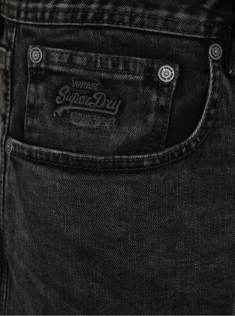 Tmavě šedé pánské slim džínové kraťasy Superdry