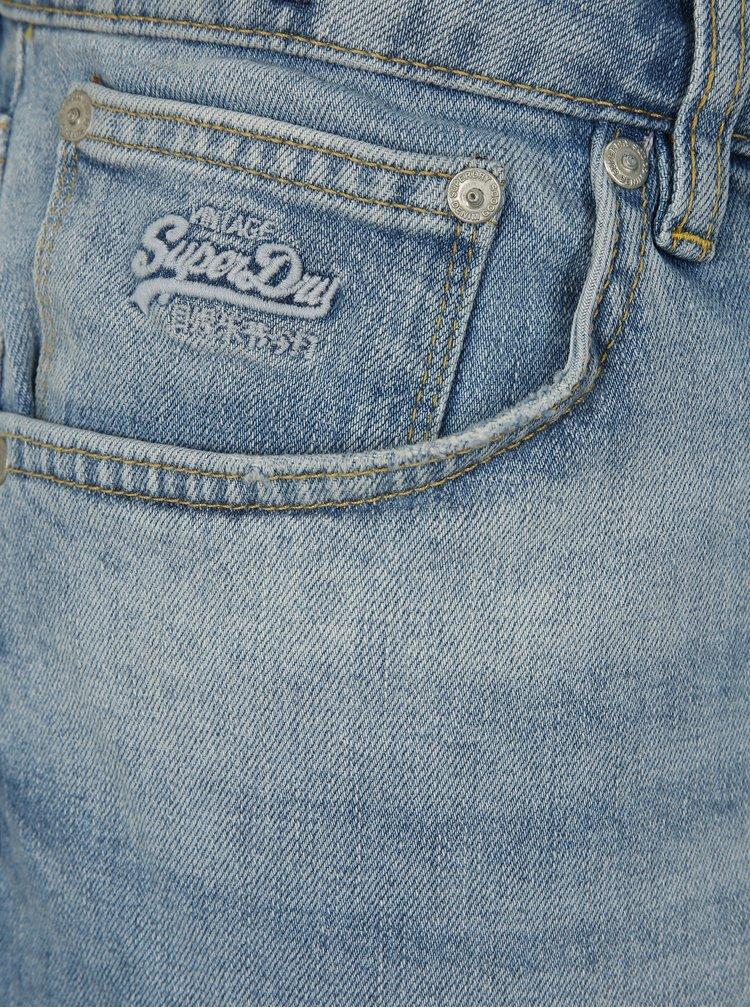 Modré pánské slim džínové kraťasy Superdry