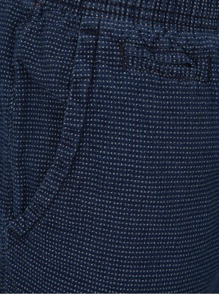 Modré pánské vzorované chino kraťasy Superdry