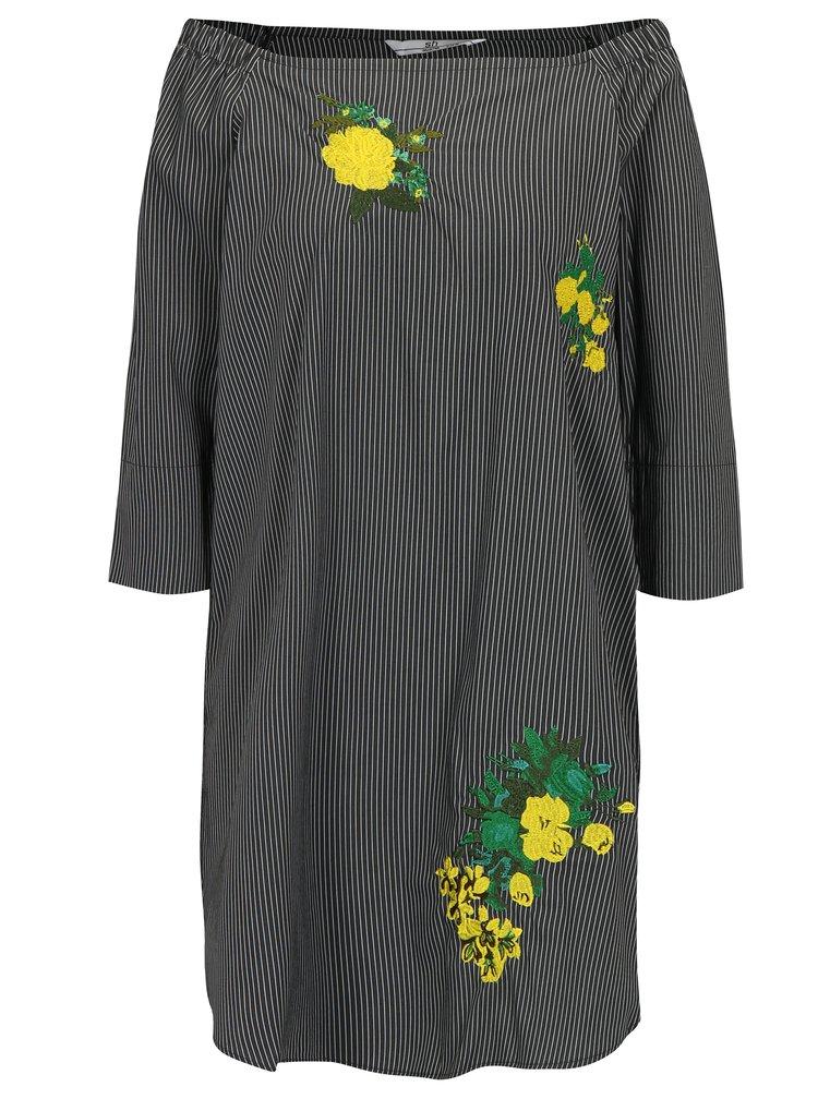 Tmavě šedé pruhované šaty s odhalenými rameny SH Pereirde