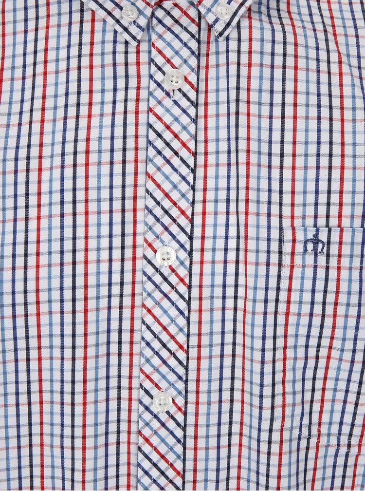 Biela kockovaná košeľa s dlhým rukávom Merc