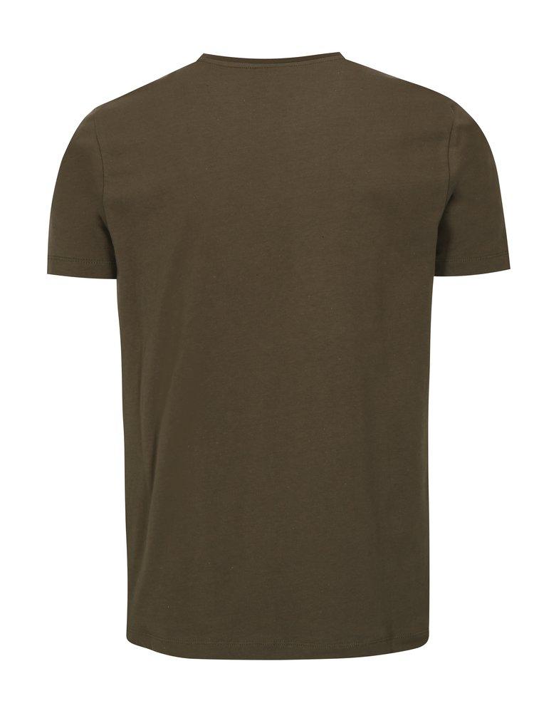 Khaki tričko s potiskem Merc