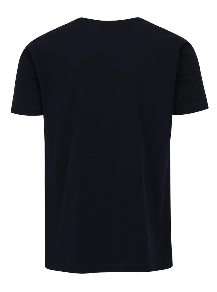 Tmavě modré tričko s potiskem Merc