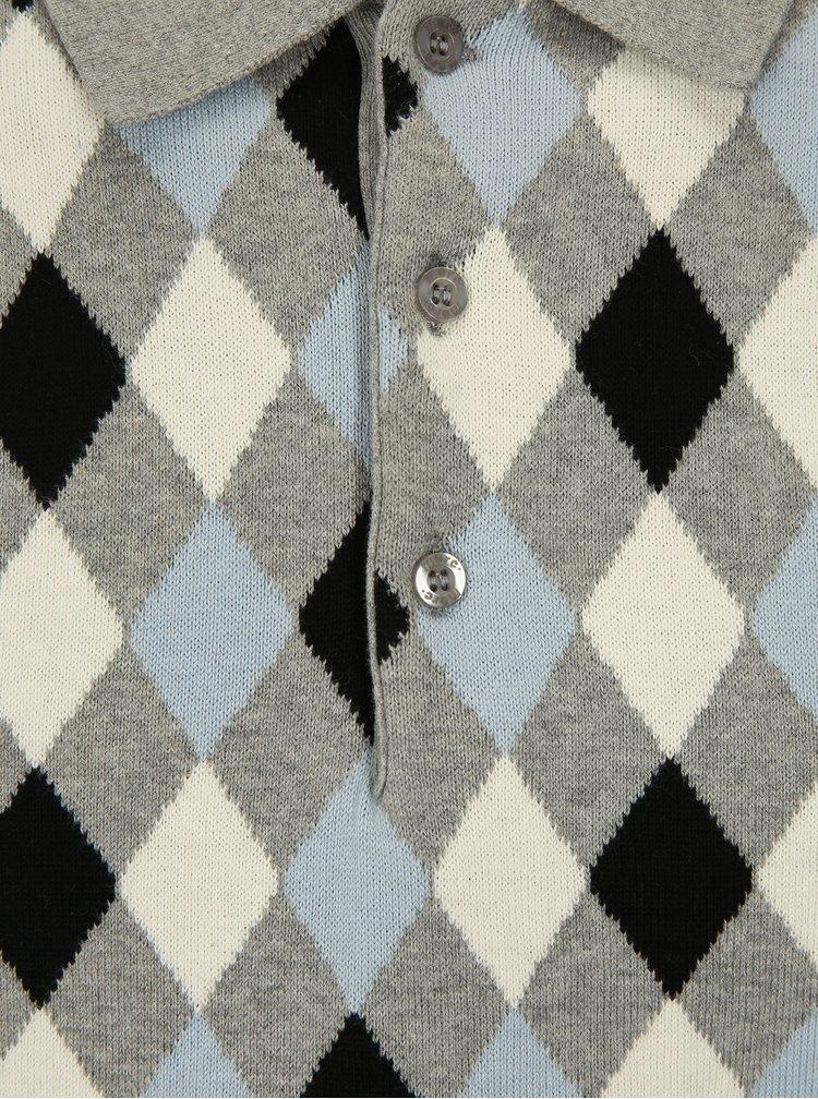 Šedé vzorované svetrové polo tričko Merc