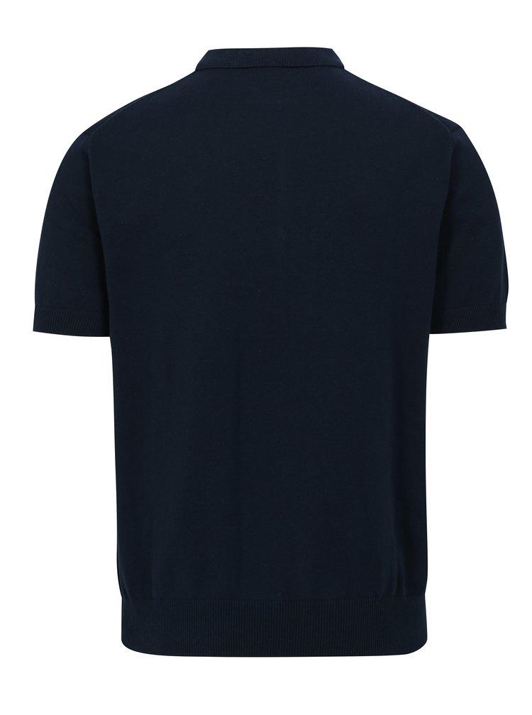 Modré vzorované svetrové polo tričko Merc
