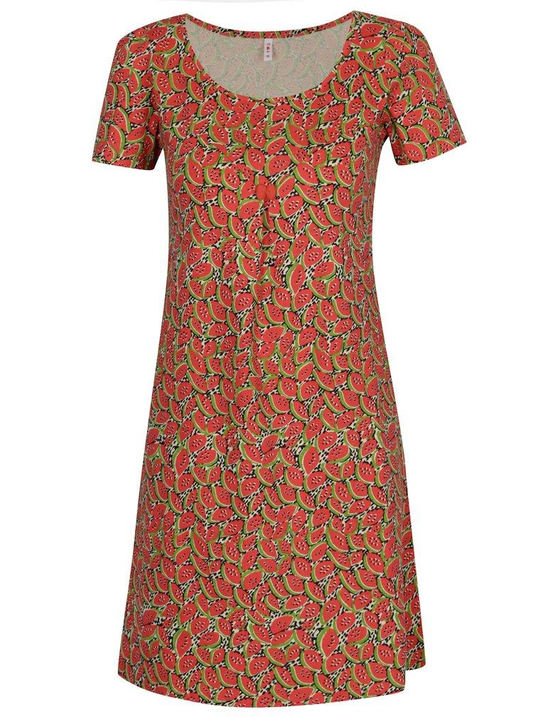 Červené šaty s krátkým rukávem a motivem melounů Blutsgeschwister