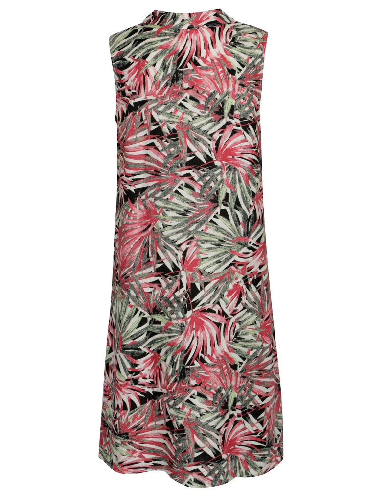 Růžovo-zelené vzorované lněné šaty Yest