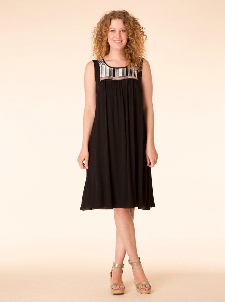 Černé šaty se vzorovaným sedlem Yest