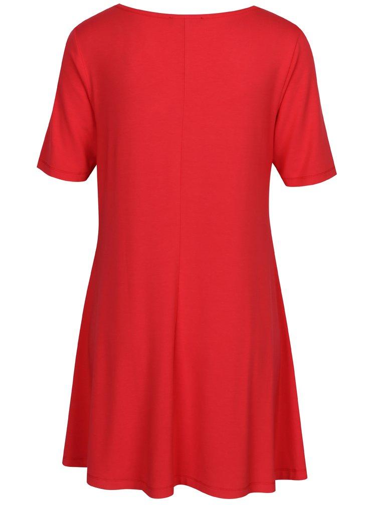 Červené šaty s véčkovým výstrihom Yest