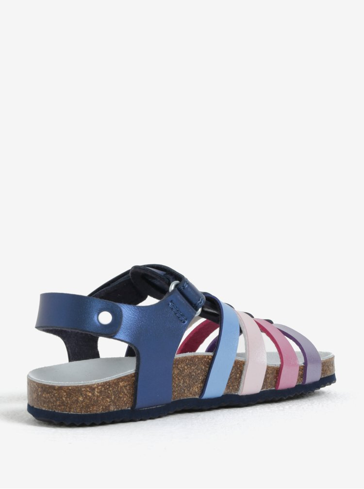 Tmavě modré holčičí kožené sandály Geox