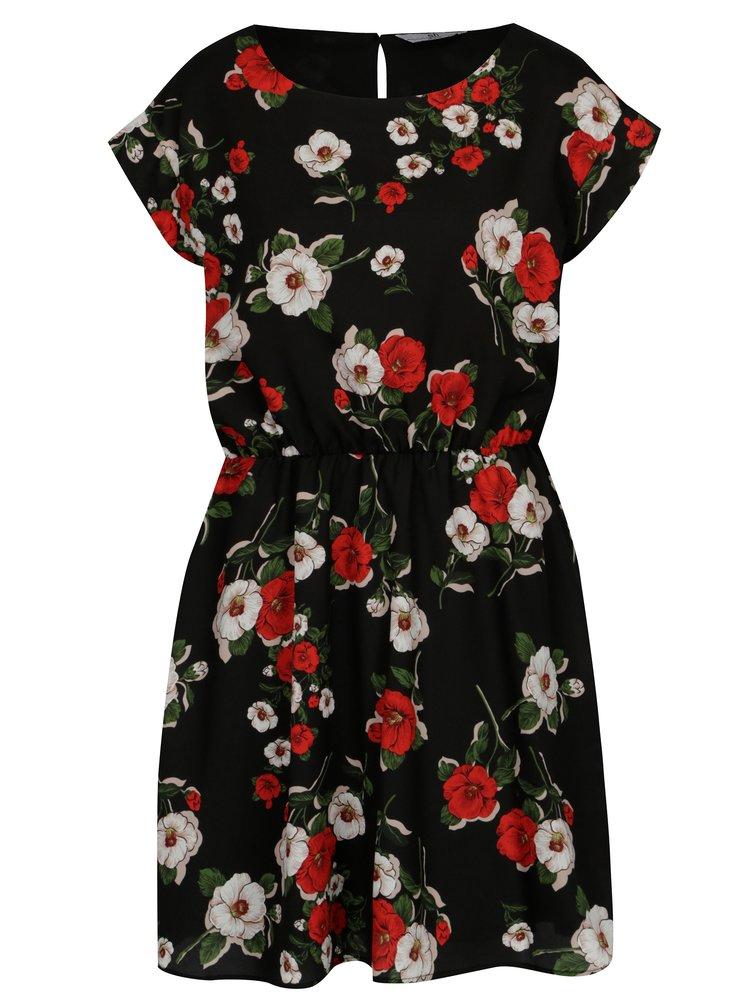 Černé květované šaty s krátkým rukávem SH Refente
