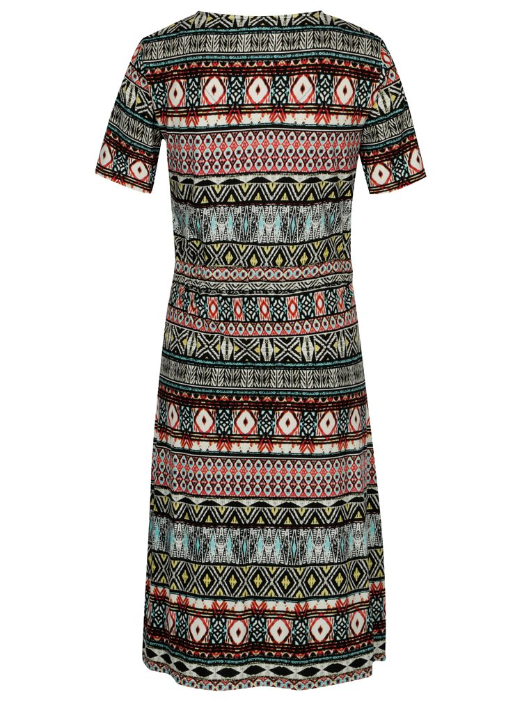 Červeno-černé vzorované šaty s 3/4 rukávem Yest