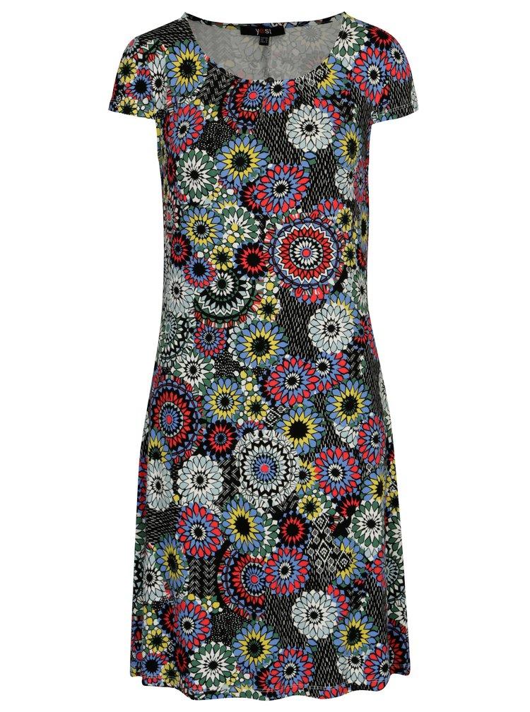 Modro-čierne vzorované šaty Yest