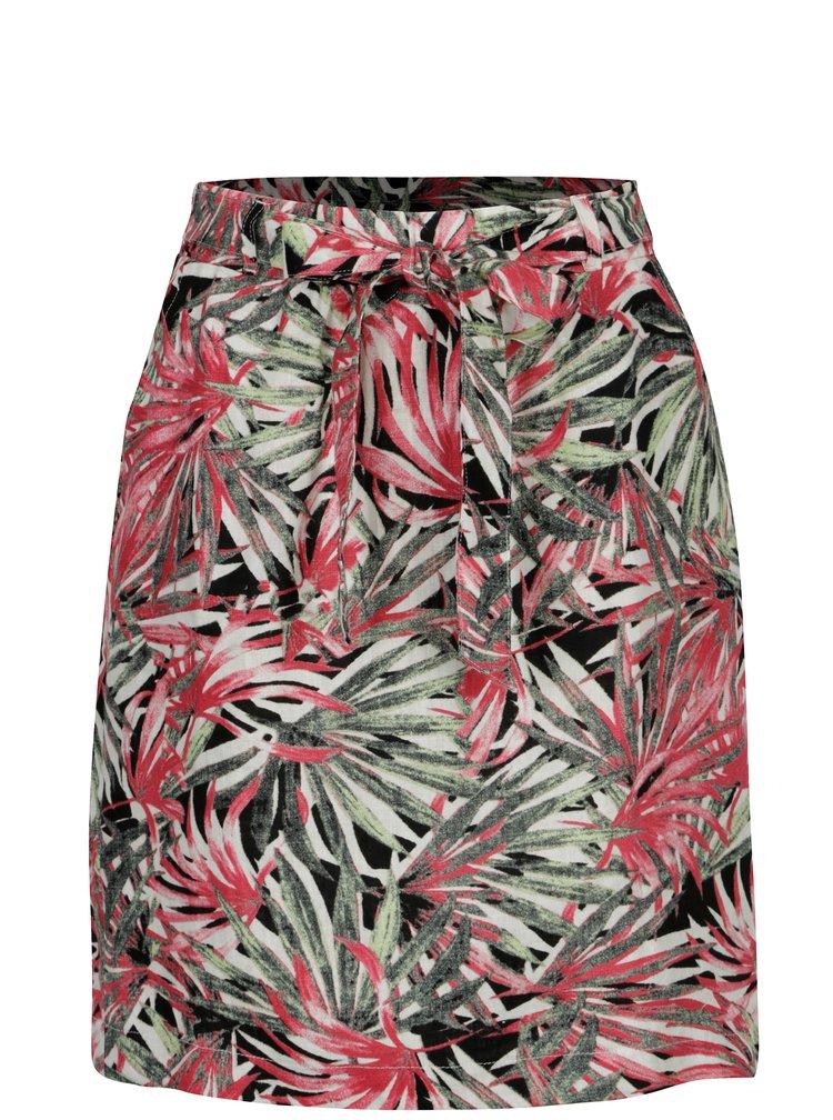 Růžovo-zelená vzorovaná lněná sukně Yest