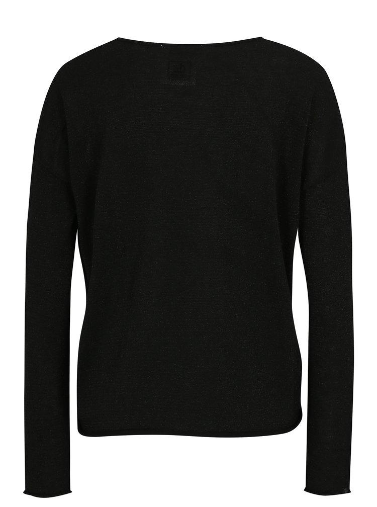 Černý lehký svetr s véčkovým výstřihem  SH Airana