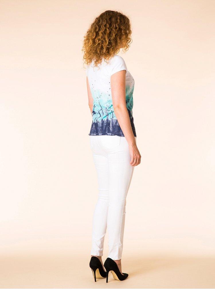 Tyrkysovo-bílé vzorované tričko Yest