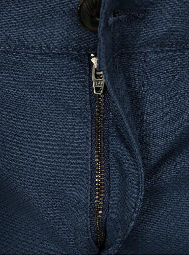 Modré vzorované kraťasy s páskem Selected Homme Straight-Paris