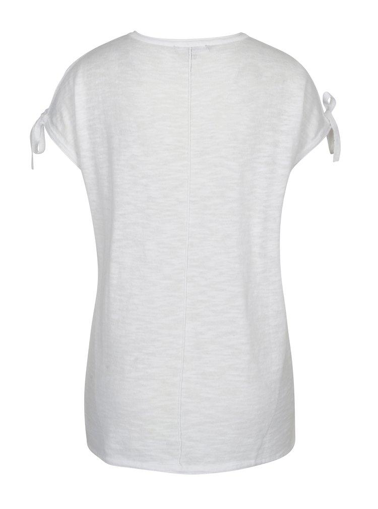Tricou alb cu decupaje pe umeri si funde - Yest