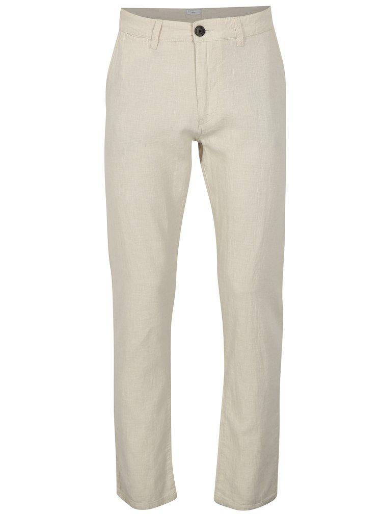 Béžové lněné kalhoty Selected Homme James