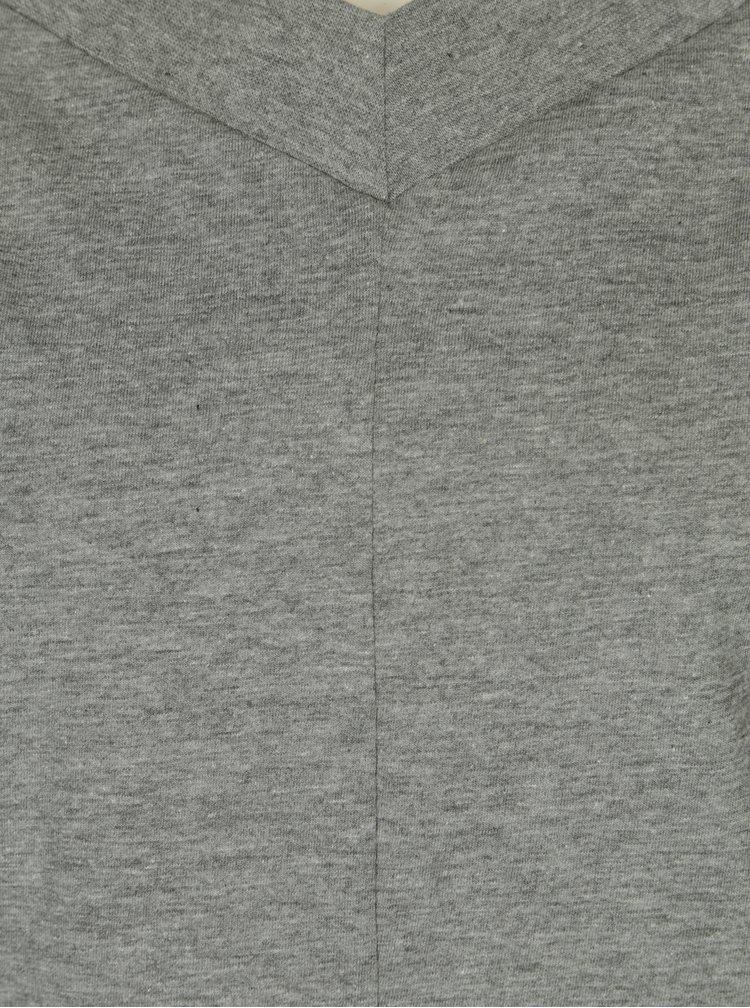 Šedé dámské basic tričko s véčkovým výstřihem Cheap Monday