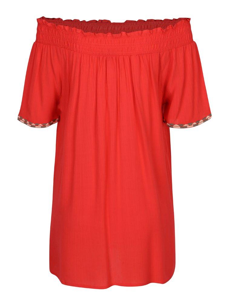 Červený top s odhalenými rameny Yest