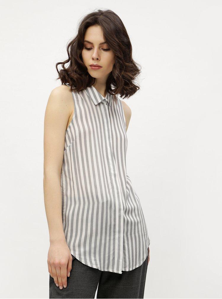 Bílo-šedá pruhovaná halenka bez rukávů Haily´s Kimy