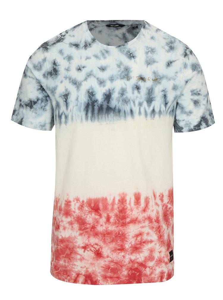 Bílé vzorované tričko ONLY & SONS Tye