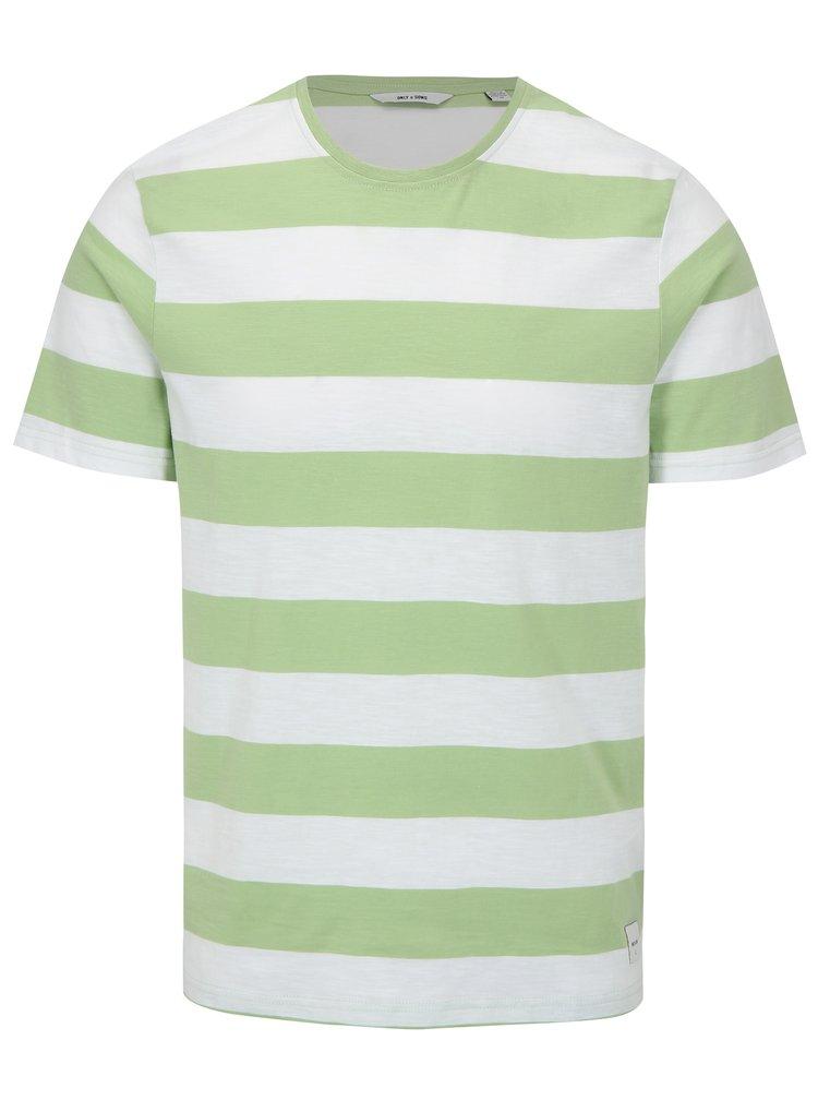 Bílo-zelené pruhované tričko ONLY & SONS Dontell