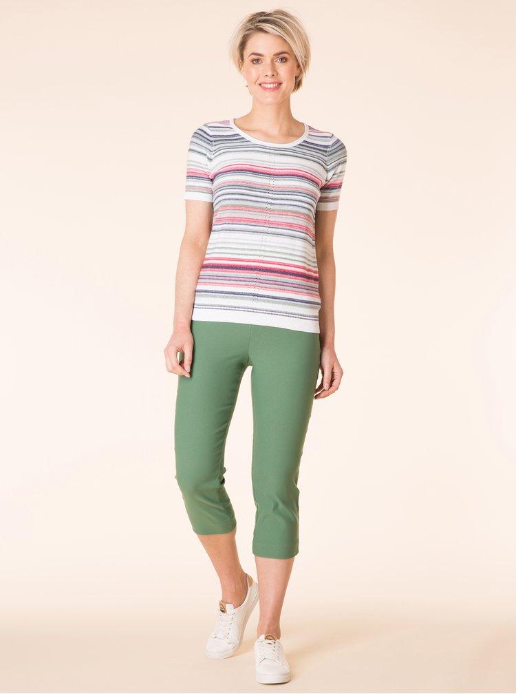 Zeleno-bílé pruhované svetrové tričko Yest