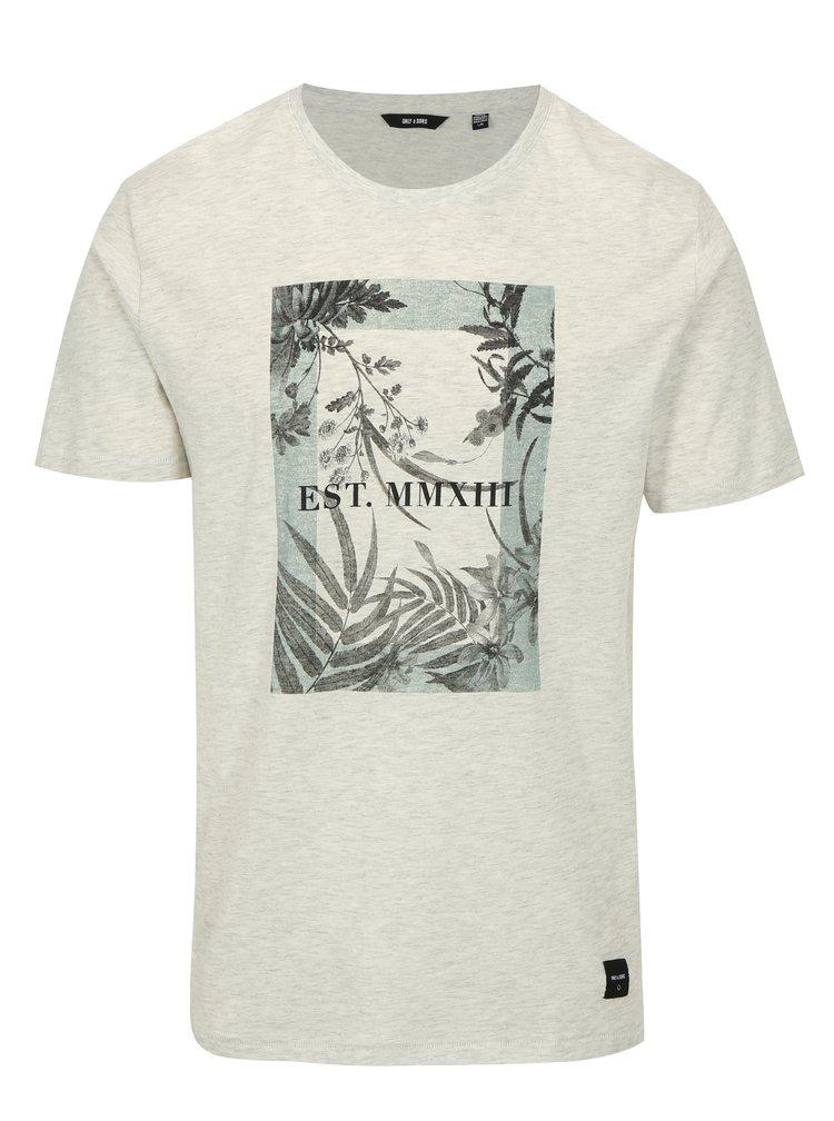 Světle šedé žíhané tričko s potiskem ONLY & SONS Skylar