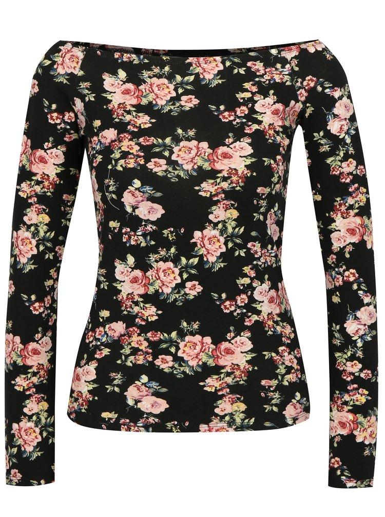 Černé květované tričko s odhalenými rameny Haily´s Estelle