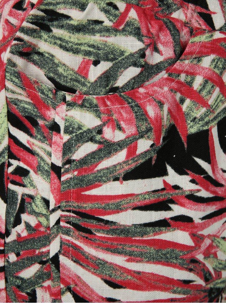 Zeleno-růžové vzorované lněné 3/4 kalhoty Yest