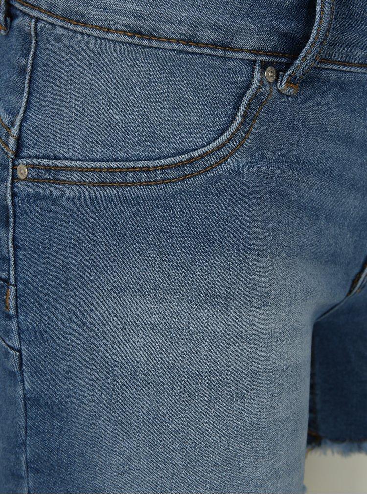 Modré rifľové kraťasy s nízkym pásom ONLY Dylan