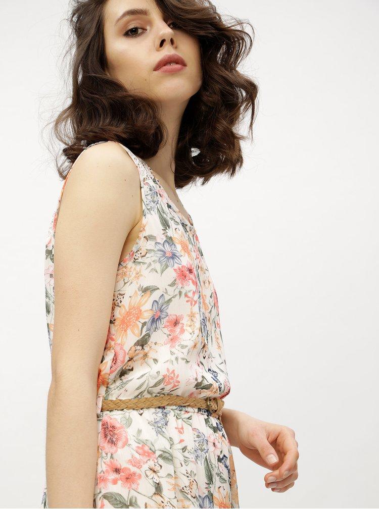 Krémové květované šaty s krajkou Haily´s Jana