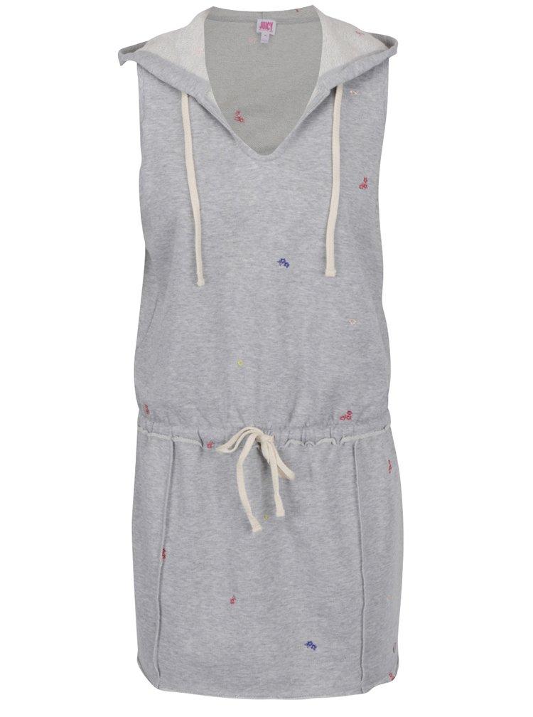 Světle šedé žíhané šaty s kapucí a výšivkami květů Juicy Couture