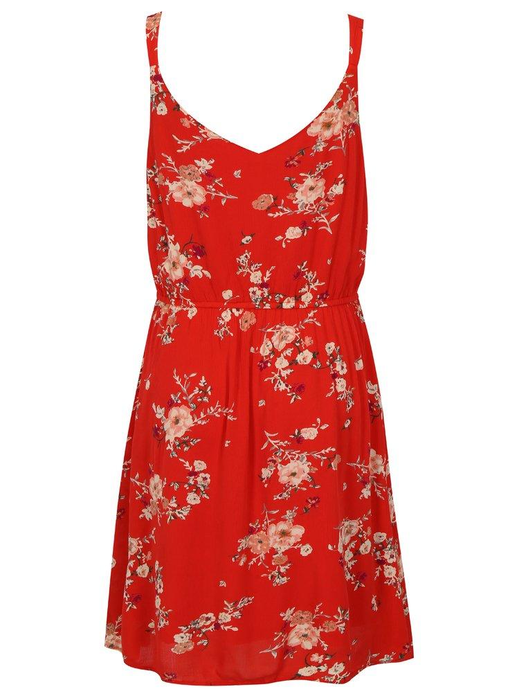 Červené květované šaty ONLY Karmen