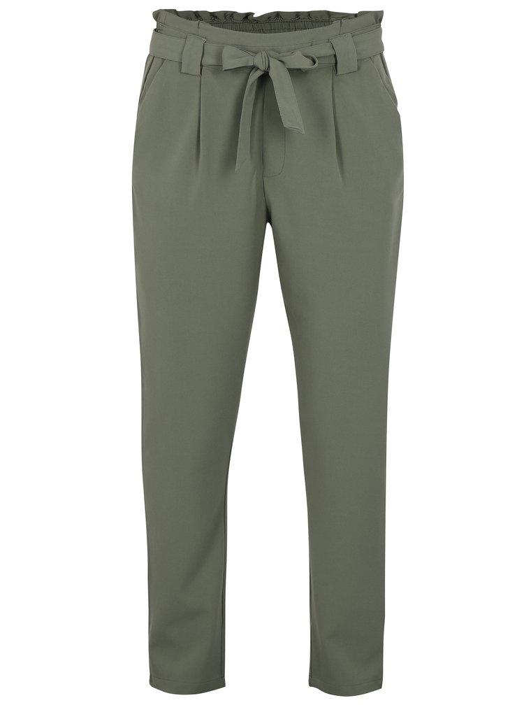Pantaloni cu talie inalta si funda verde oliv - Jacqueline de Yong Dakota
