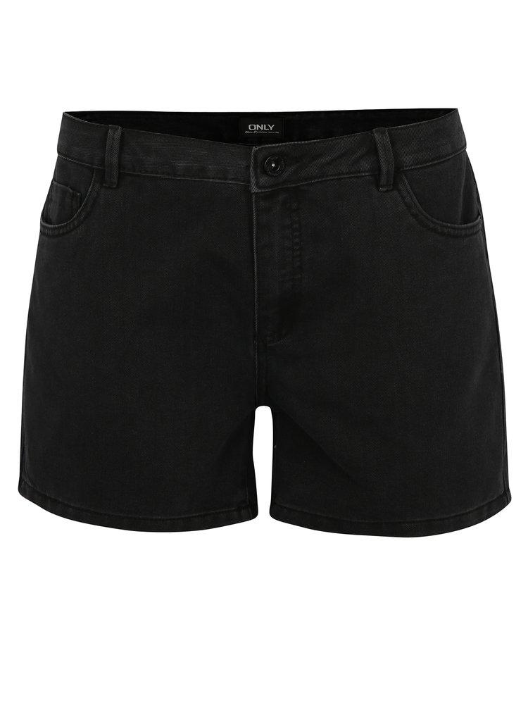 Černé džínové kraťasy s nízkým pasem ONLY Carmen