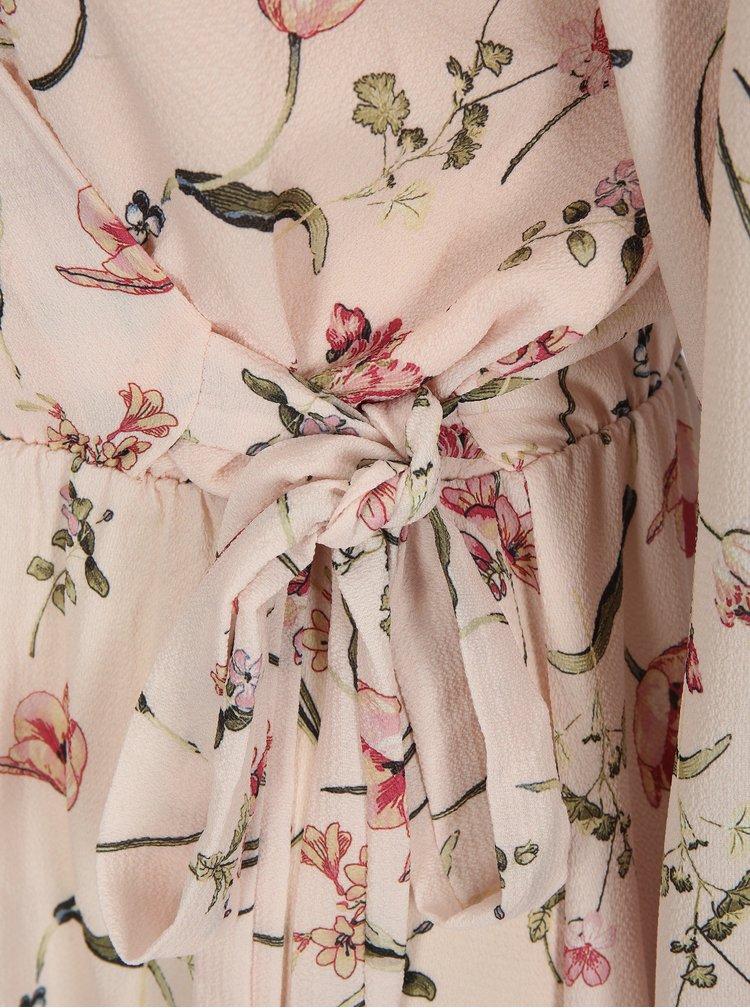 Světle růžové květované šaty s překládaným výstřihem Haily´s Lena