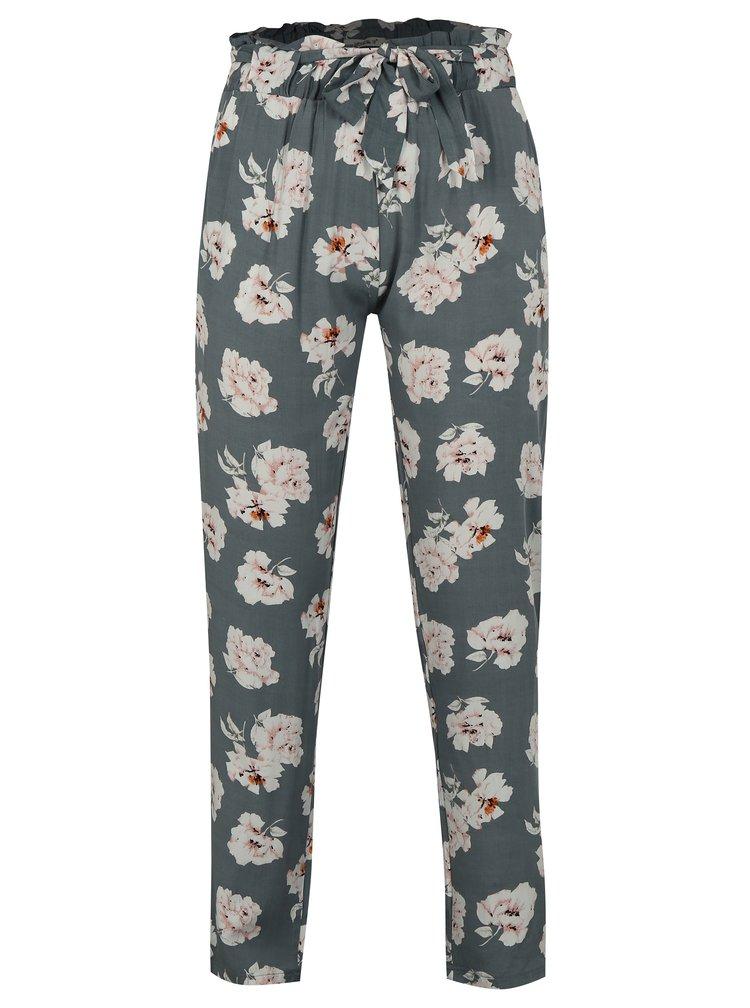 Šedé volné květované kalhoty Haily´s Ronja