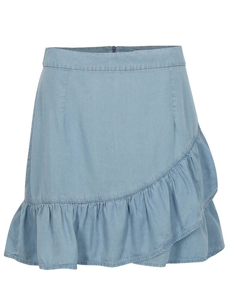 Světle modrá sukně s volánem ONLY Kessi
