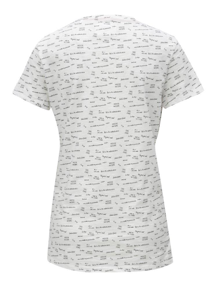Biele dámske vzorované tričko Cars Zazoe