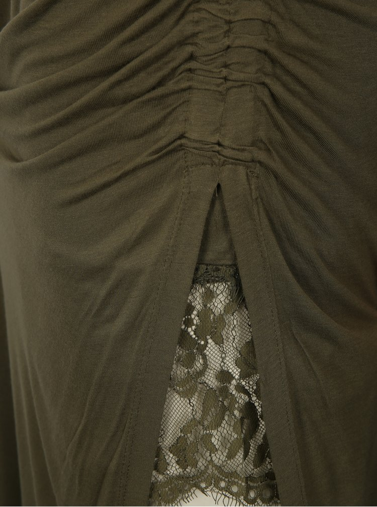 Khaki asymetrická maxisukně s rozparkem ONLY Ria