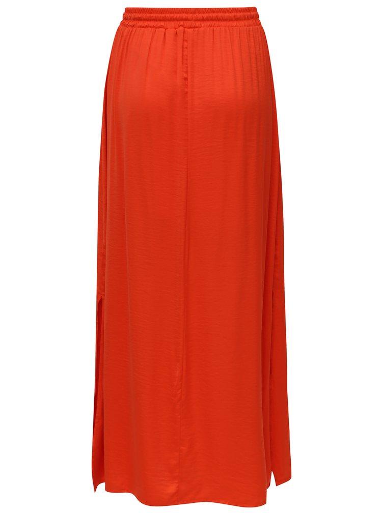 Oranžová maxi sukně s rozparky VILA Cava