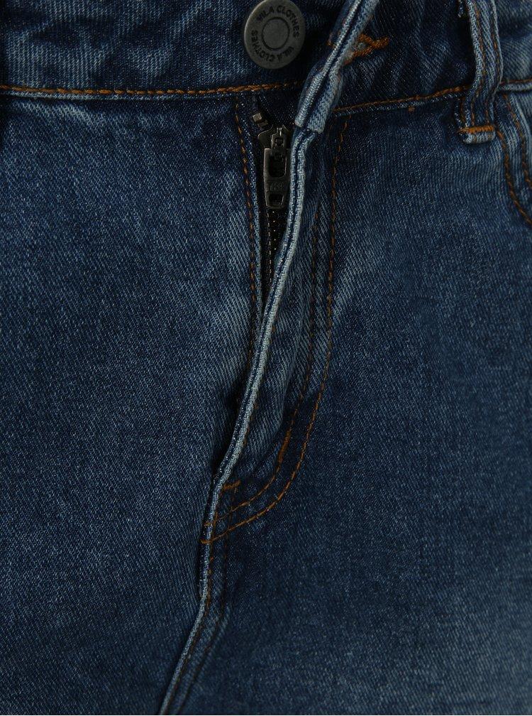 Modré rifľové kraťasy s vysokým pásom a roztrhaným efektom VILA Makkas