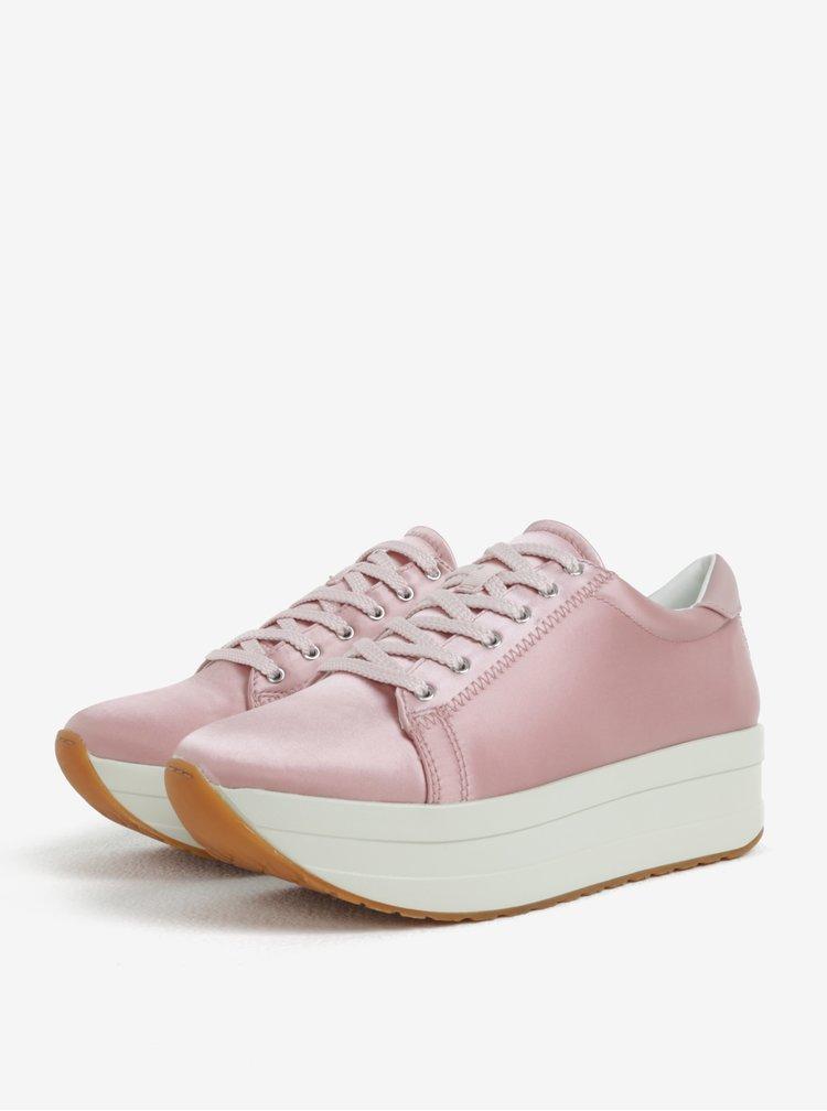 Růžové dámské lesklé tenisky na platformě Vagabond Casey